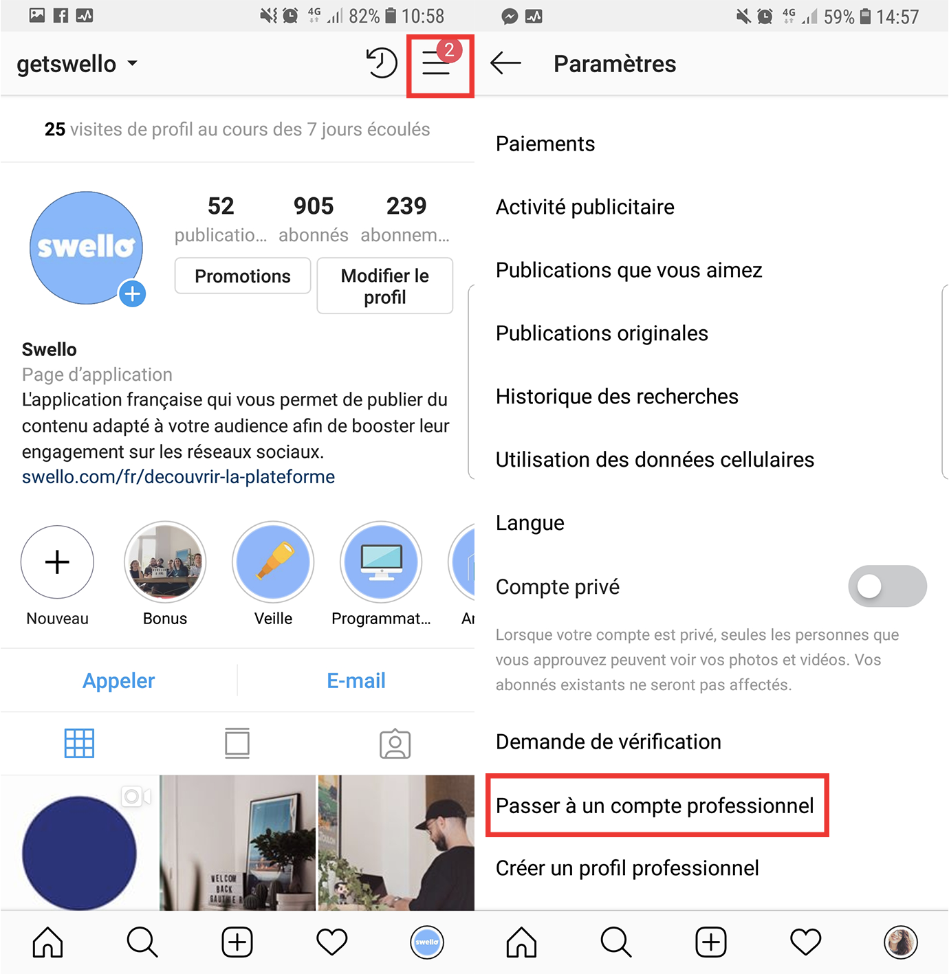 article instagram compte pro