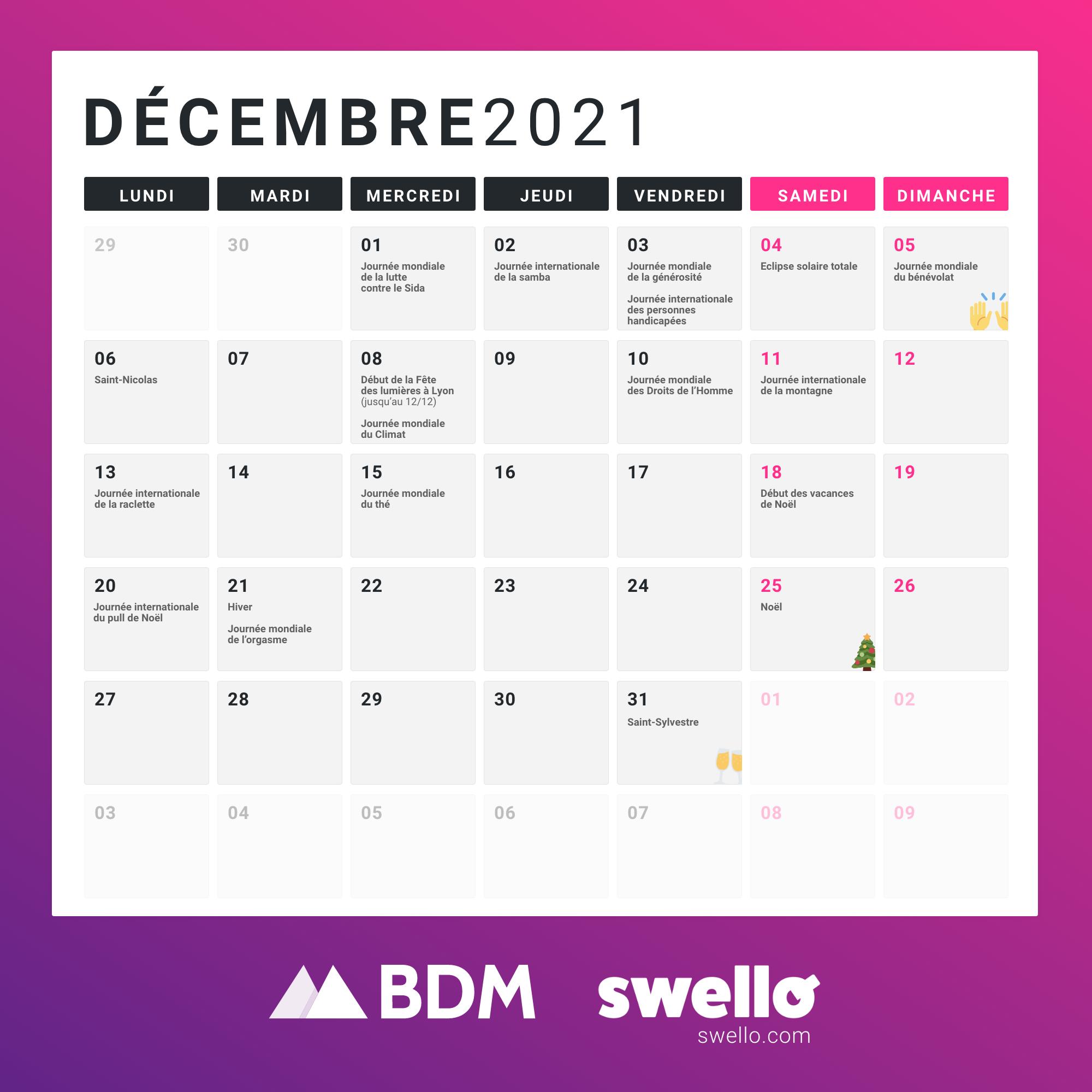 Calendrier Social Media 2021 Décembre