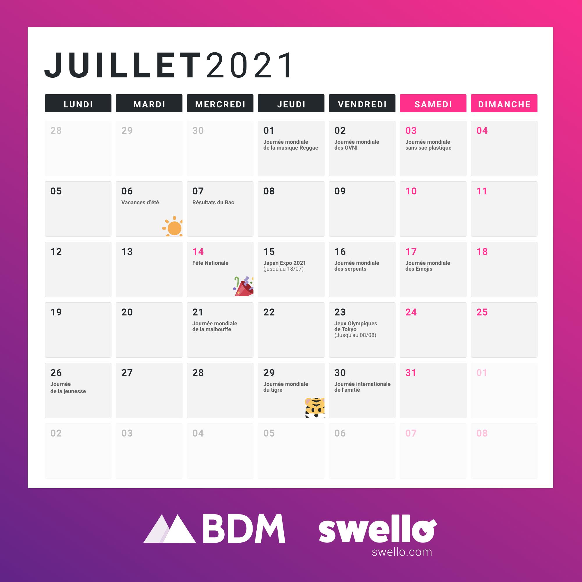 Calendrier Social Media 2021 Juillet